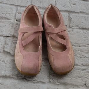 Land's End Women's Pink Suede Mary-Jane Flat